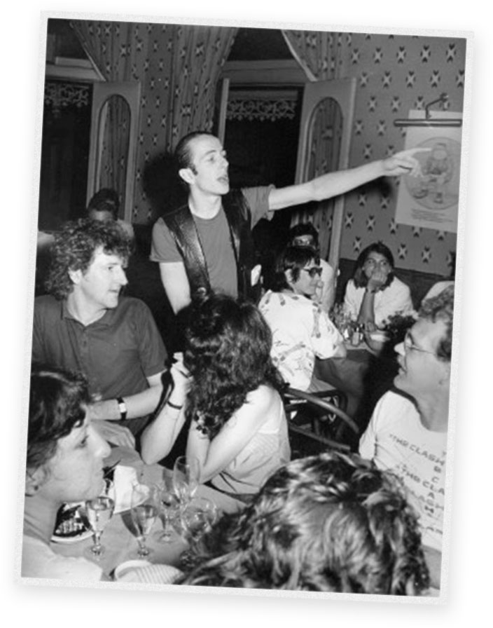 Ben (as a very young dude) with The Clash's frontman; Joe Strummer.