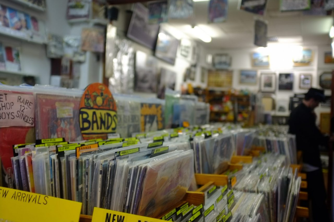 Record Albums In A Record Store