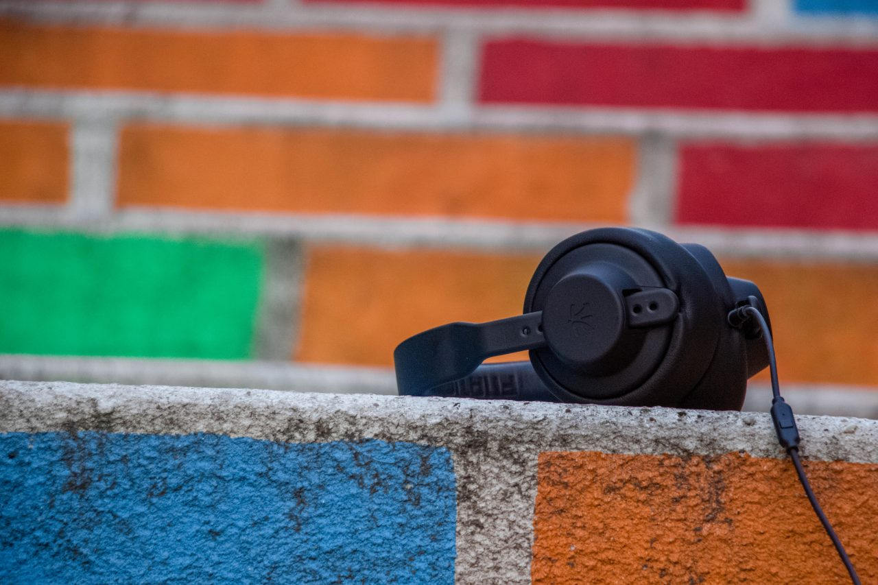 Headphones On A Colored Wall