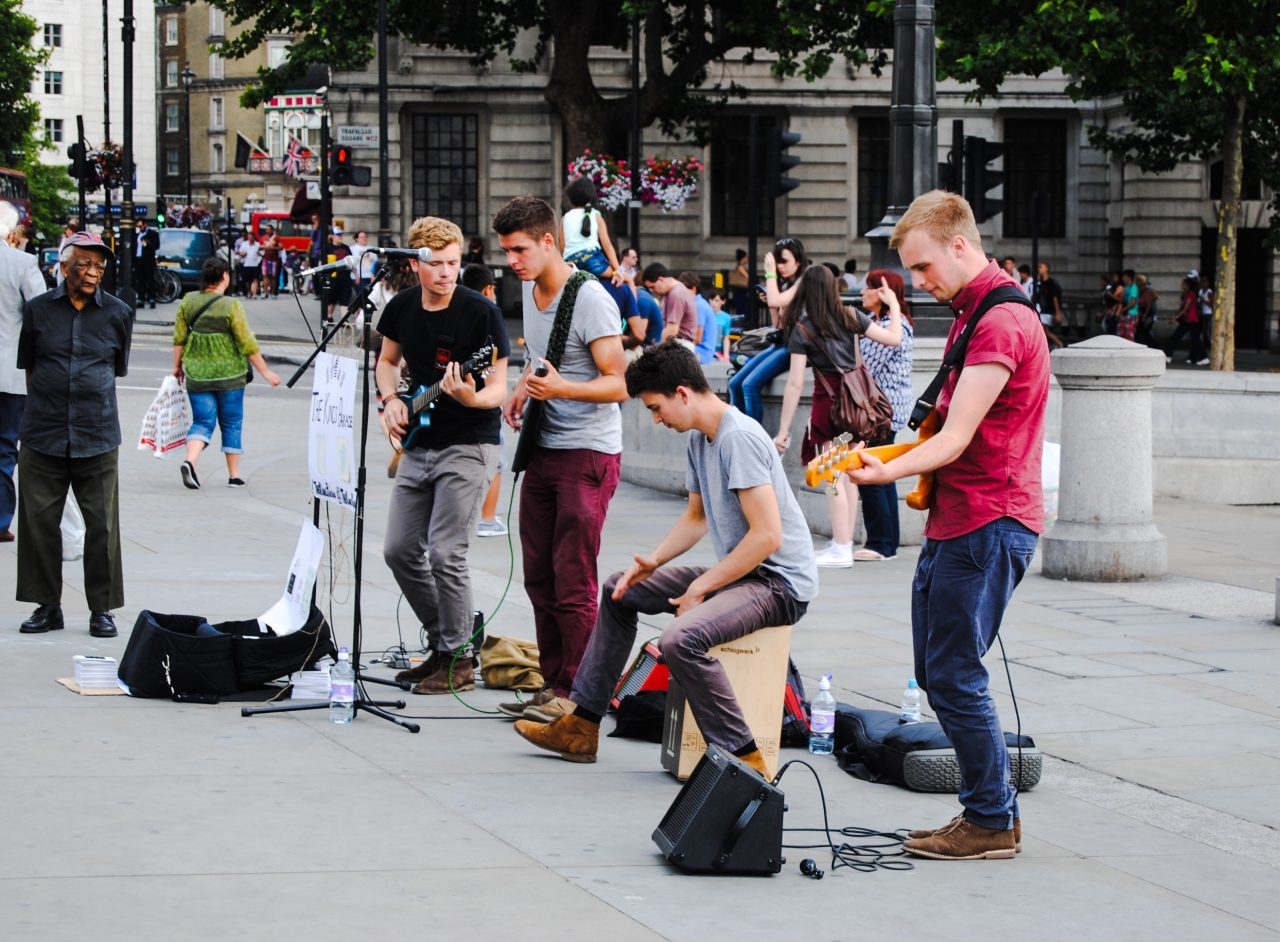 4 Musicians Busking In The Street